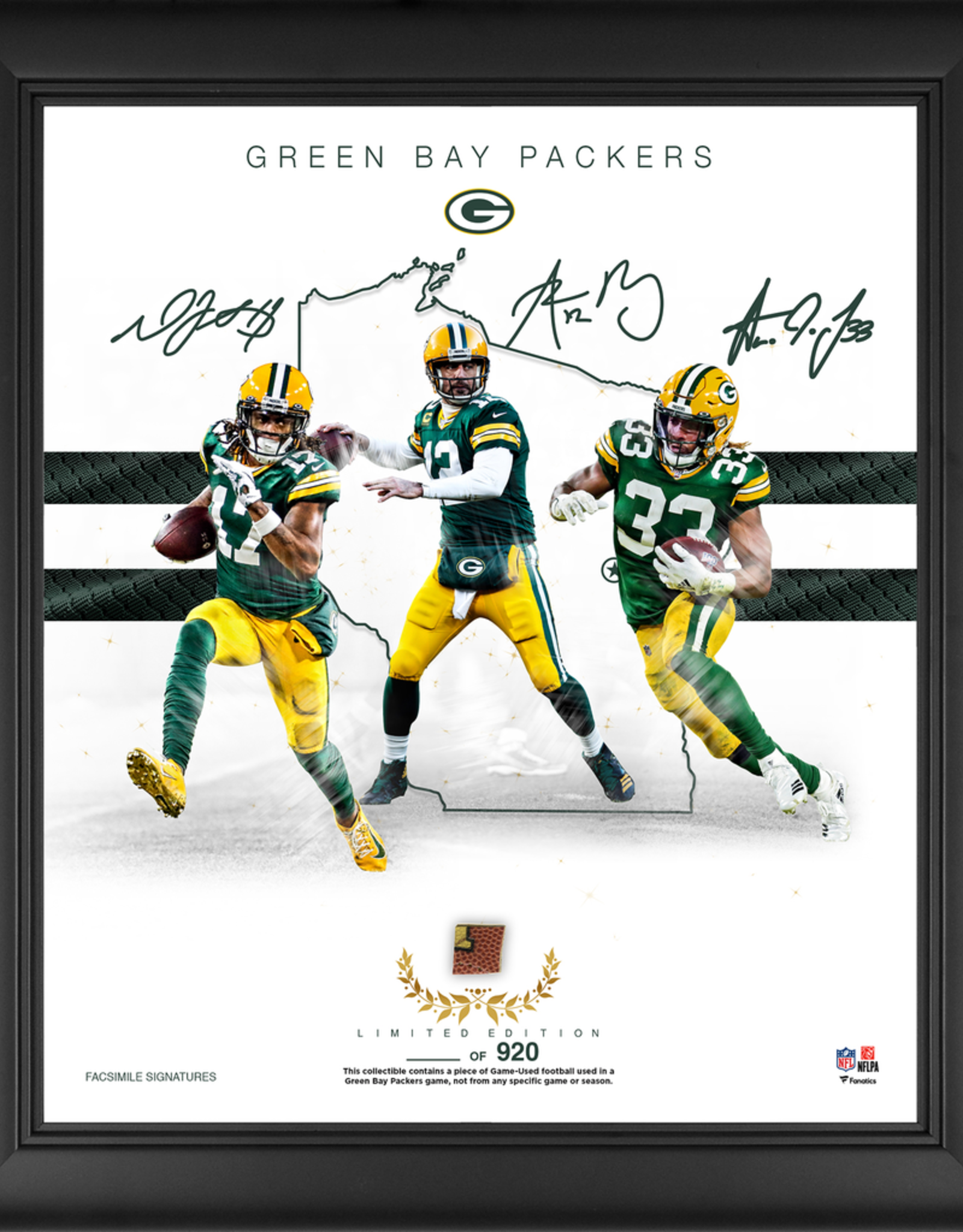 "MOUNTED MEMORIES Green Bay Packers LIMITED EDITION Framed 15"" x 17"" Franchise Foundations Collage with a Piece of Game Used Football"