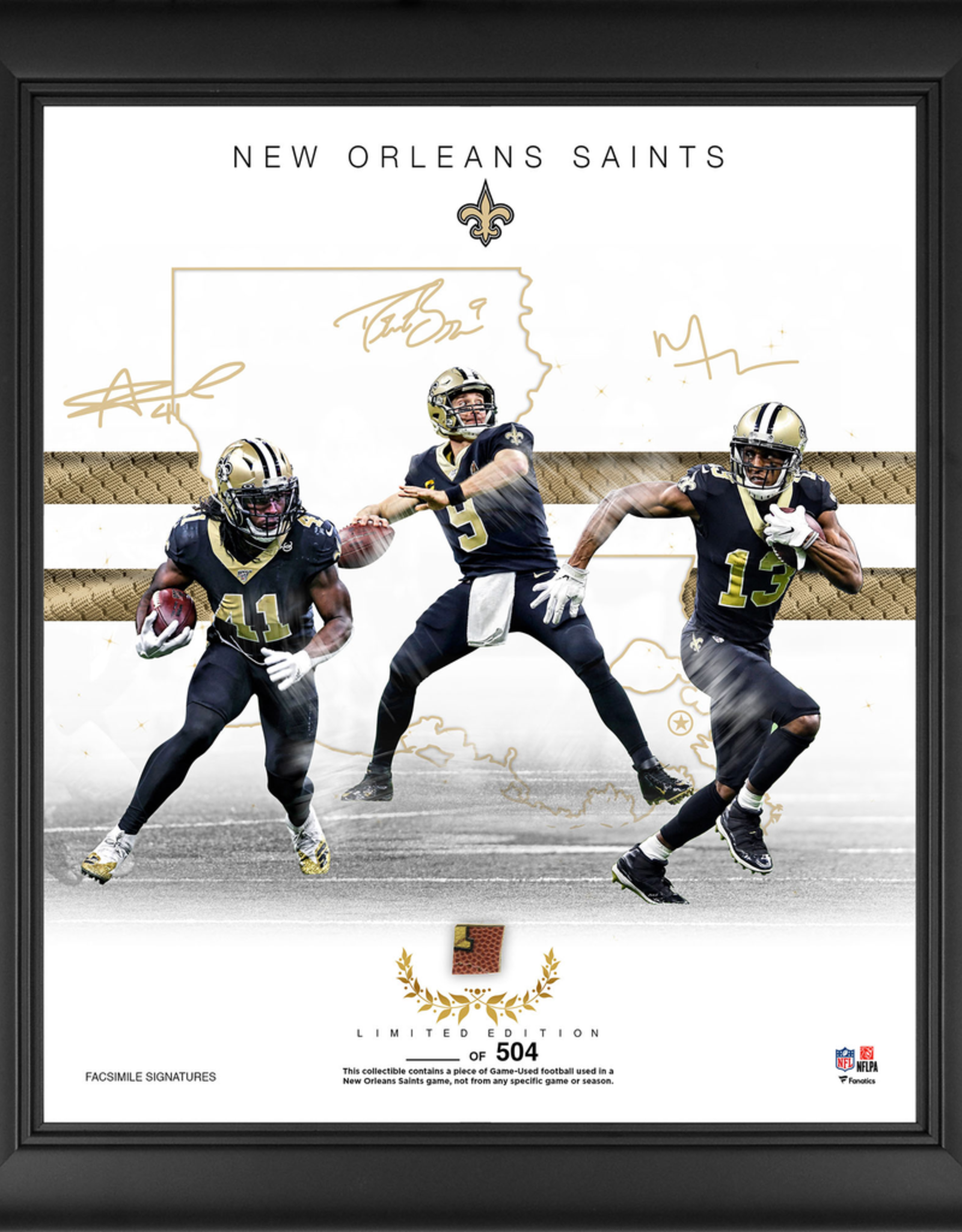 "MOUNTED MEMORIES New Orleans Saints LIMITED EDITION Framed 15"" x 17"" Franchise Foundations Collage with a Piece of Game Used Football"