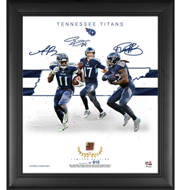 "MOUNTED MEMORIES Tennessee Titans LIMITED EDITION Framed 15"" x 17"" Franchise Foundations Collage with a Piece of Game Used Football"