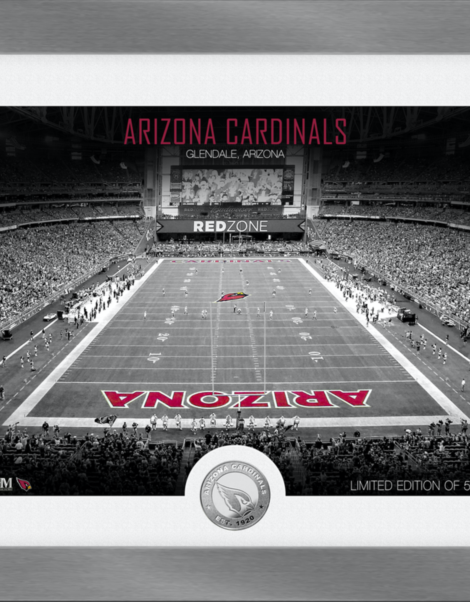 HIGHLAND MINT Arizona Cardinals Framed Art Deco Stadium with Silver Coin