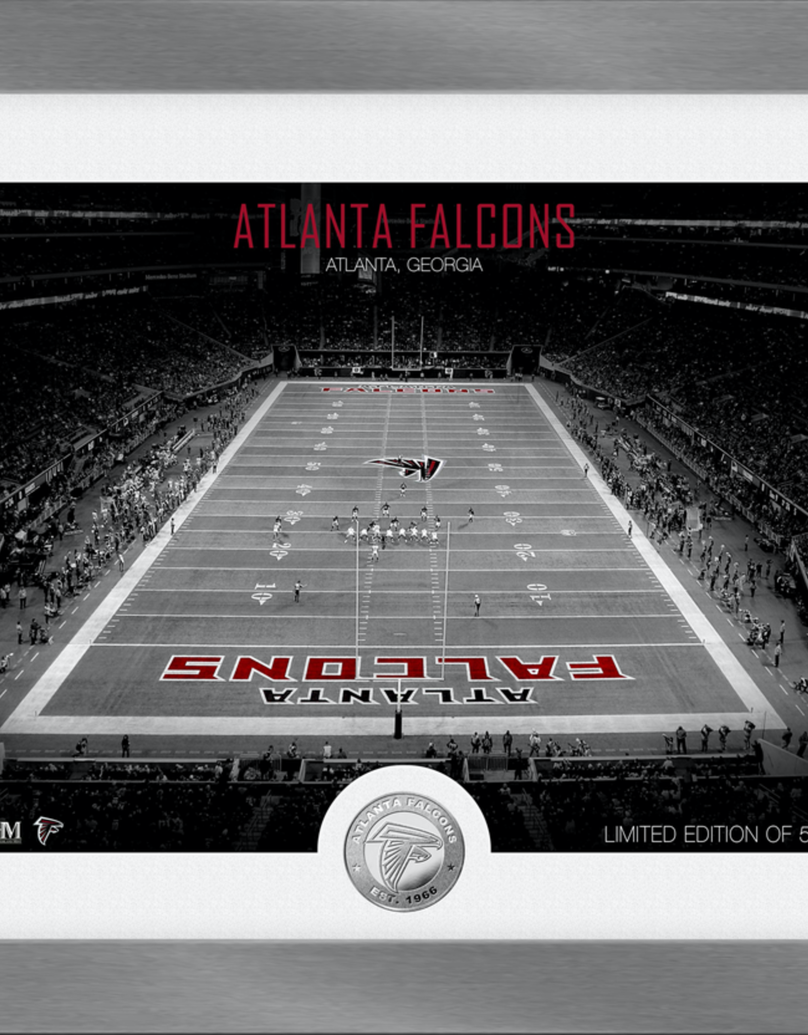 HIGHLAND MINT Atlanta Falcons Framed Art Deco Stadium with Silver Coin