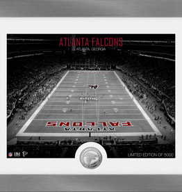 HIGHLAND MINT Atlanta Falcons Framed Art Deco Stadium with Silver Coin