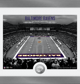 HIGHLAND MINT Baltimore Ravens Framed Art Deco Stadium with Silver Coin