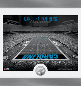 HIGHLAND MINT Carolina Panthers Framed Art Deco Stadium with Silver Coin