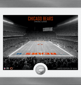 HIGHLAND MINT Chicago Bears Framed Art Deco Stadium with Silver Coin