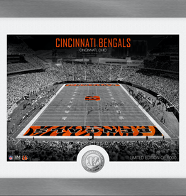 HIGHLAND MINT Cincinnati Bengals Framed Art Deco Stadium with Silver Coin