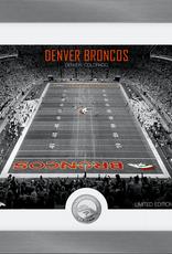 HIGHLAND MINT Denver Broncos Framed Art Deco Stadium with Silver Coin