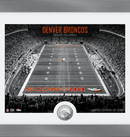 HIGHLAND MINT Denver Broncos Framed Art Deco Stadium with Silver Coin