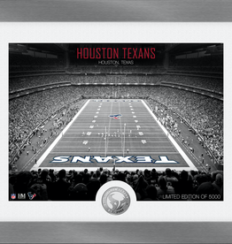 HIGHLAND MINT Houston Texans Framed Art Deco Stadium with Silver Coin