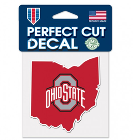 "WINCRAFT Ohio State Buckeyes 4"" x 4"" State Shaped Perfect Cut Decals"