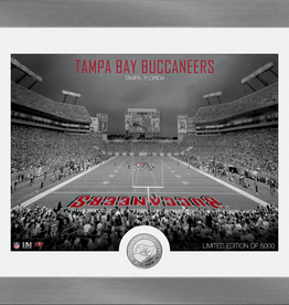 HIGHLAND MINT Tampa Bay Buccaneers Framed Art Deco Stadium with Silver Coin