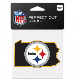 "WINCRAFT Pittsburgh Steelers 4"" x 4"" State Shaped Perfect Cut Decals"