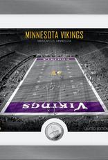 HIGHLAND MINT Minnesota Vikings Framed Art Deco Stadium with Silver Coin