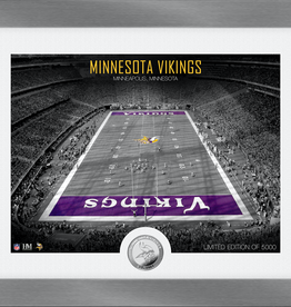 HIGHLAND MINT Minnesota Vikings Framed Art Deco Stadium with Silver Coin