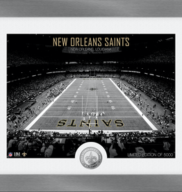 HIGHLAND MINT New Orleans Saints Framed Art Deco Stadium with Silver Coin