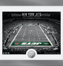 HIGHLAND MINT New York Jets Framed Art Deco Stadium with Silver Coin