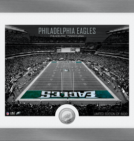 HIGHLAND MINT Philadelphia Eagles Framed Art Deco Stadium with Silver Coin