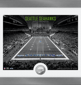 HIGHLAND MINT Seattle Seahawks Framed Art Deco Stadium with Silver Coin