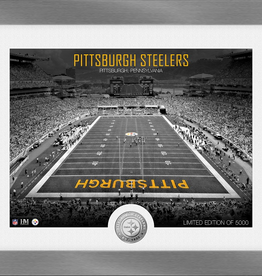 HIGHLAND MINT Pittsburgh Steelers Framed Art Deco Stadium with Silver Coin