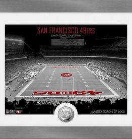 HIGHLAND MINT San Francisco 49ers Framed Art Deco Stadium with Silver Coin