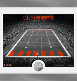 HIGHLAND MINT Cleveland Browns Framed Art Deco Stadium with Silver Coin