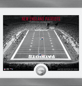 HIGHLAND MINT New England Patriots Framed Art Deco Stadium with Silver Coin