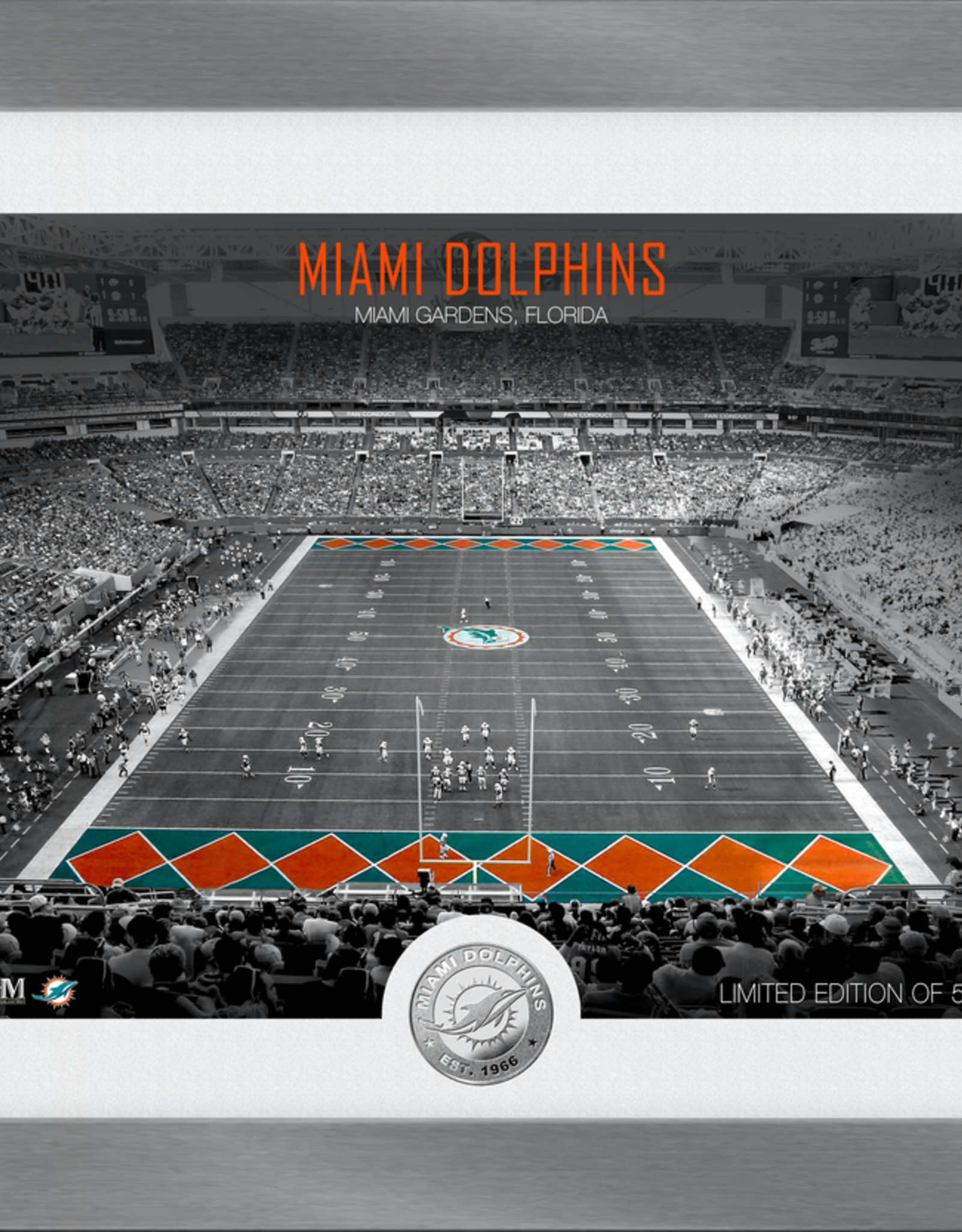 HIGHLAND MINT Miami Dolphins Framed Art Deco Stadium with Silver Coin