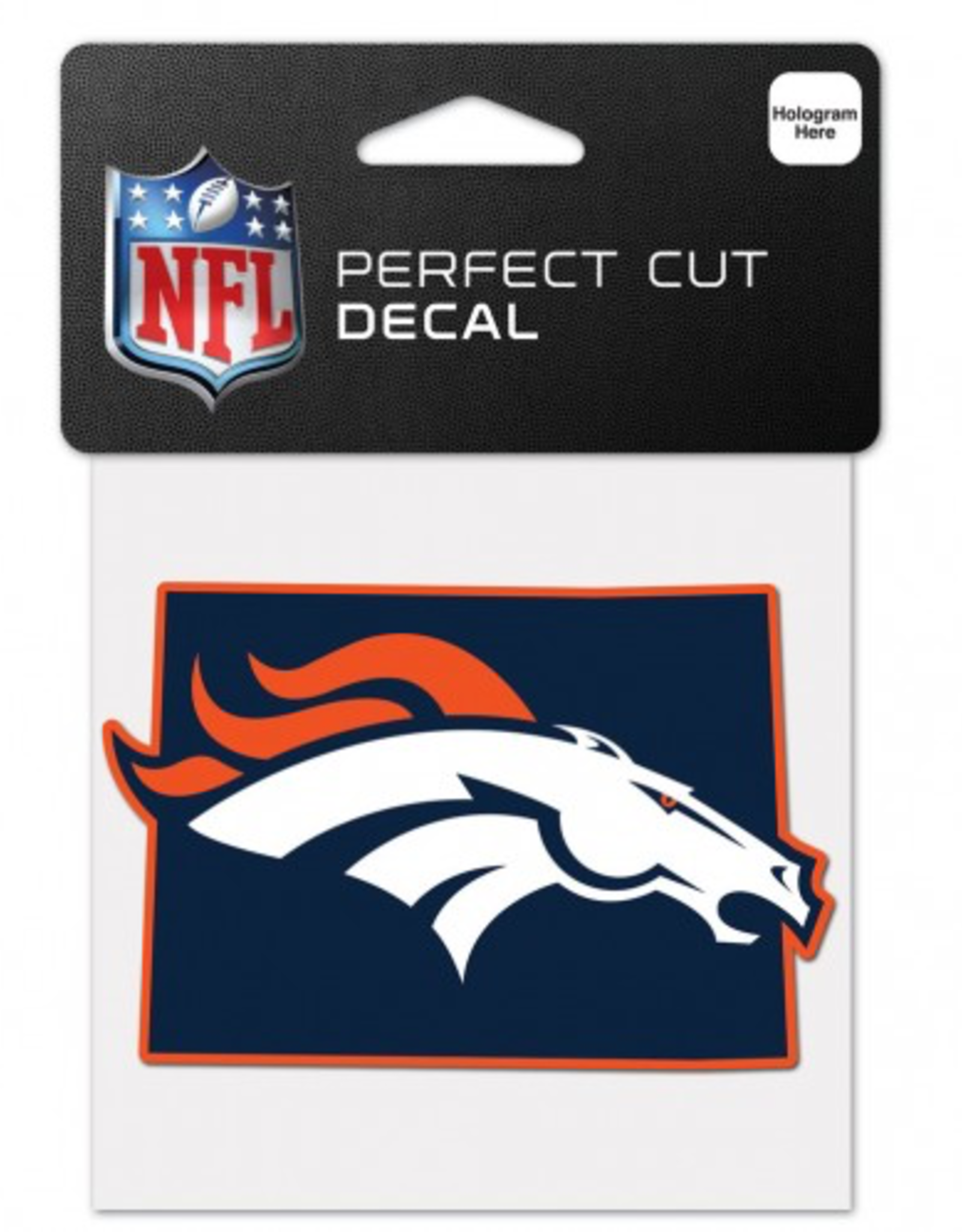 "WINCRAFT Denver Broncos 4"" x 4"" State Shaped Perfect Cut Decals"