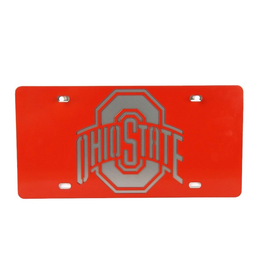 GAMEDAY IRONWORKS Ohio State Buckeyes Red Logo License Plate & Backer