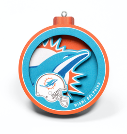 YOU THE FAN Miami Dolphins 3-D Logo Ornaments