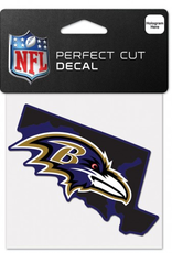 """WINCRAFT Baltimore Ravens 4"""" x 4"""" State Shaped Perfect Cut Decals"""