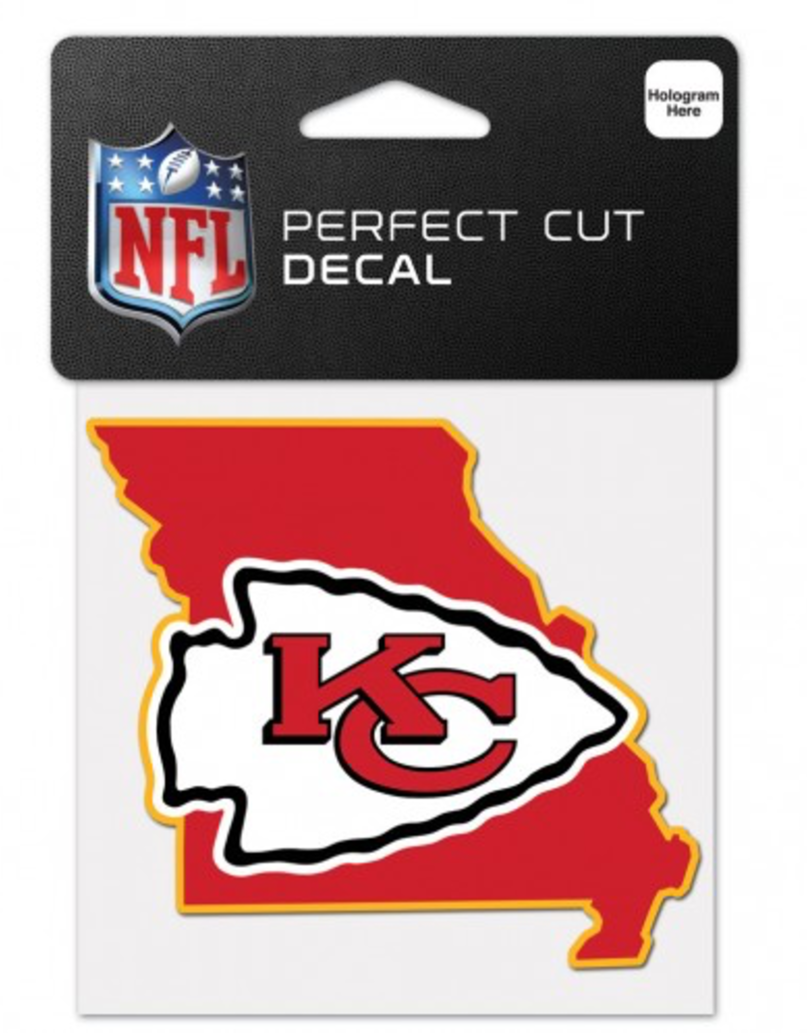 """WINCRAFT Kansas City Chiefs 4"""" x 4"""" State Shaped Perfect Cut Decals"""
