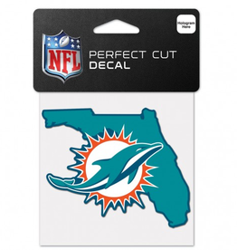 "WINCRAFT Miami Dolphins 4"" x 4"" State Shaped Perfect Cut Decals"