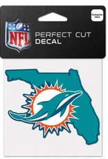 """WINCRAFT Miami Dolphins 4"""" x 4"""" State Shaped Perfect Cut Decals"""