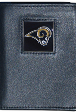 SISKIYOU GIFTS Los Angeles Rams Executive Black Leather Trifold Wallet