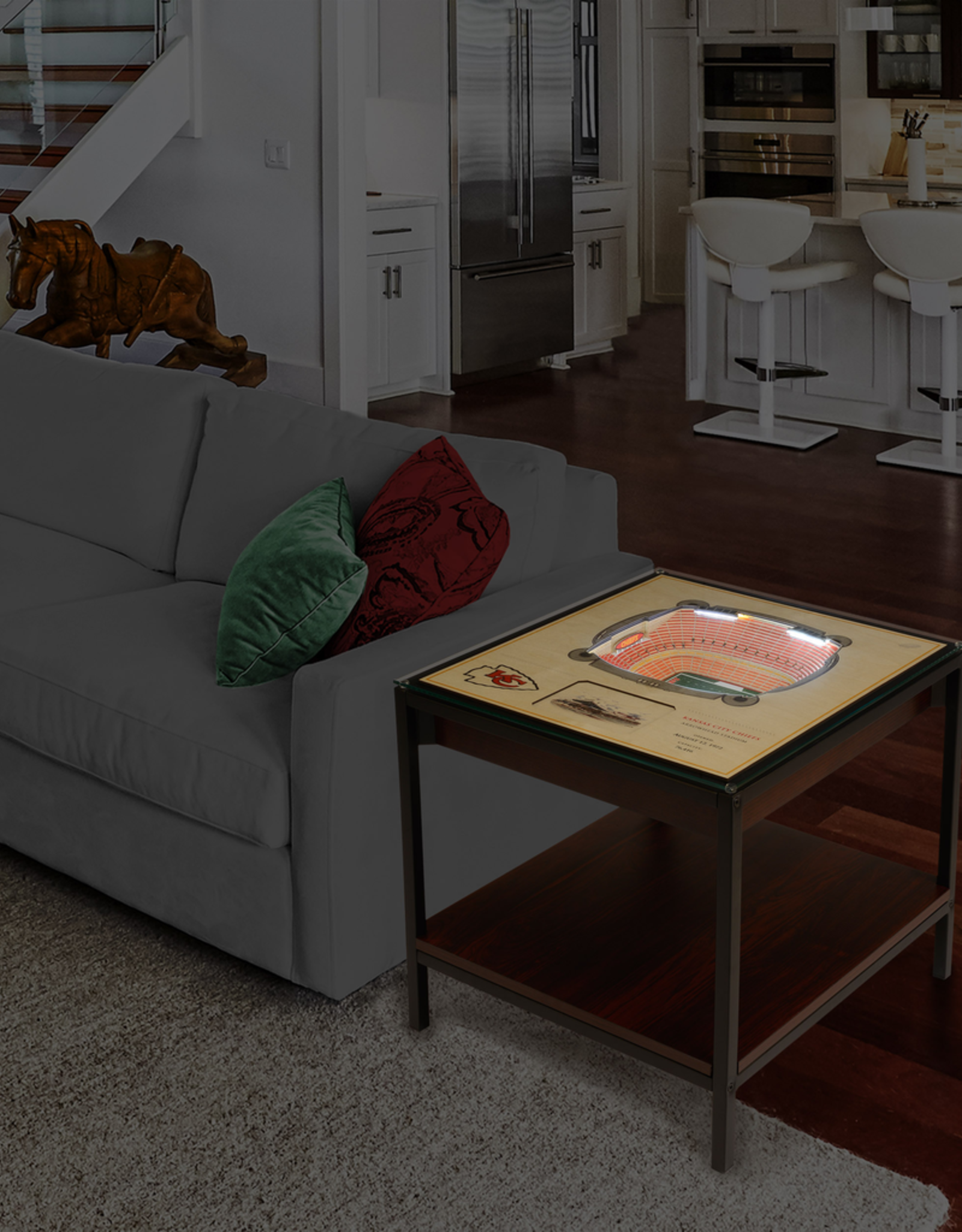 Kansas City Chiefs LED Lighted Stadium View End Table