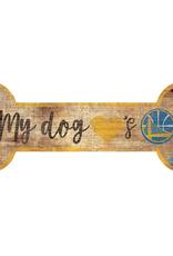 FAN CREATIONS Golden State Warriors Dog Bone Wood Sign