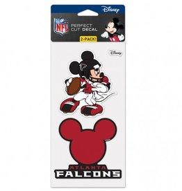 WINCRAFT Atlanta Falcons Set of Two DISNEY 4x4 Perfect Cut Decals