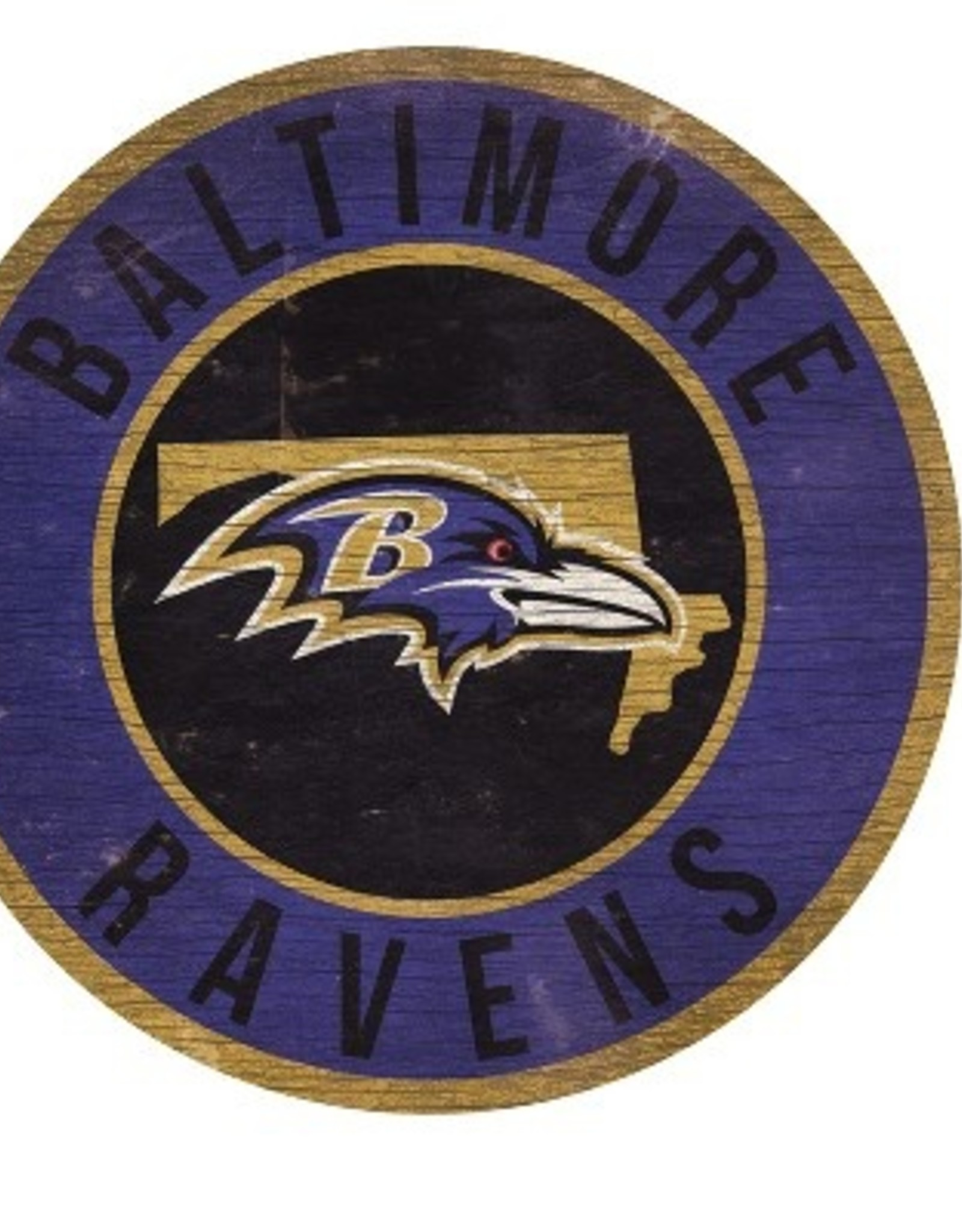 FAN CREATIONS Baltimore Ravens Round State Sign
