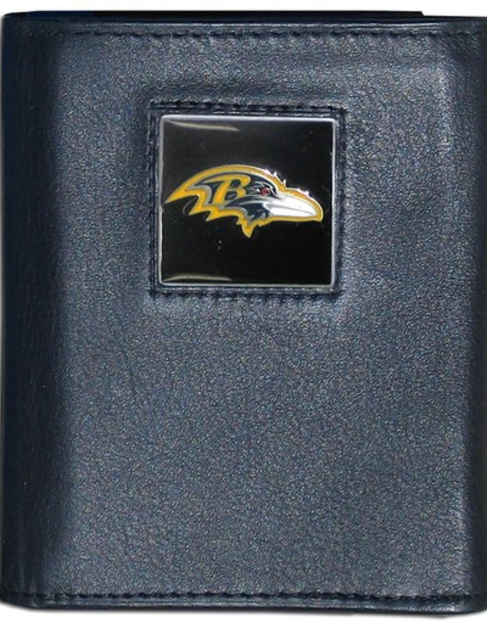 SISKIYOU GIFTS Baltimore Ravens Executive Black Leather Trifold Wallet