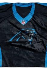 """Carolina Panthers 50in x 60in NFL """"Jersey"""" Royal Plush Raschel Throw"""