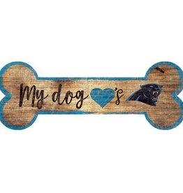 FAN CREATIONS Carolina Panthers Dog Bone Wood Sign