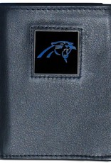 SISKIYOU GIFTS Carolina Panthers Executive Black Leather Trifold Wallet