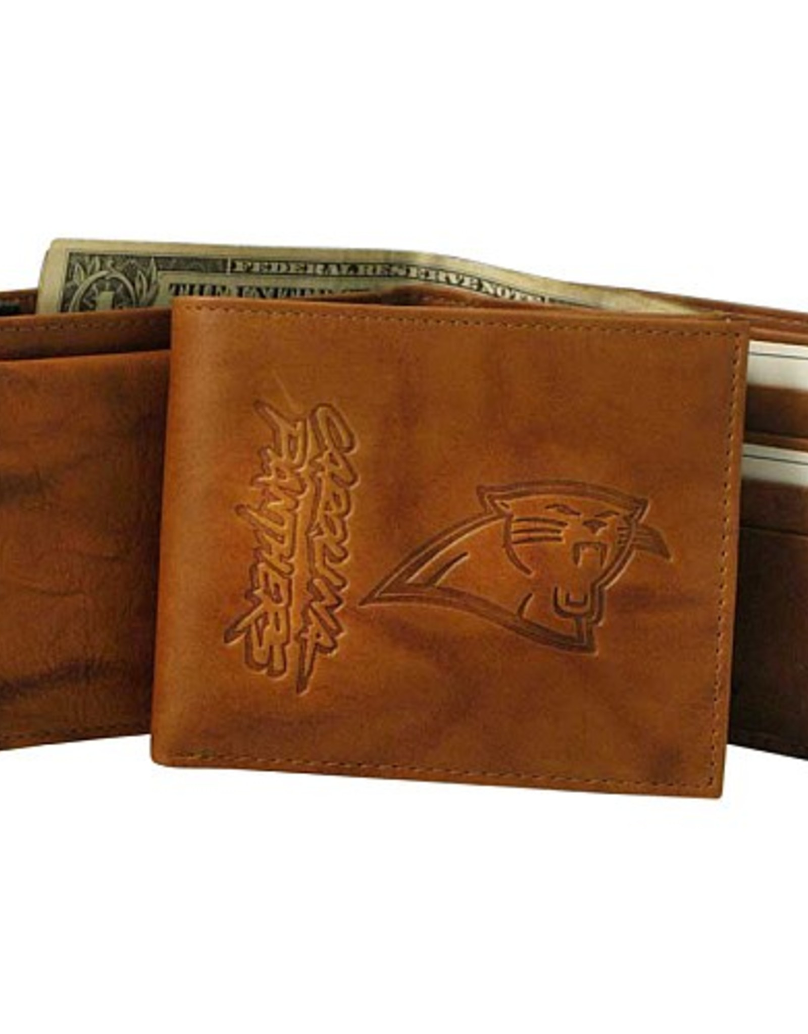 RICO INDUSTRIES Carolina Panthers Genuine Leather Vintage Billfold Wallet