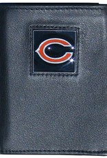 Chicago Bears Executive Black Leather Trifold Wallet