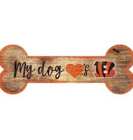 FAN CREATIONS Cincinnati Bengals Dog Bone Wood Sign