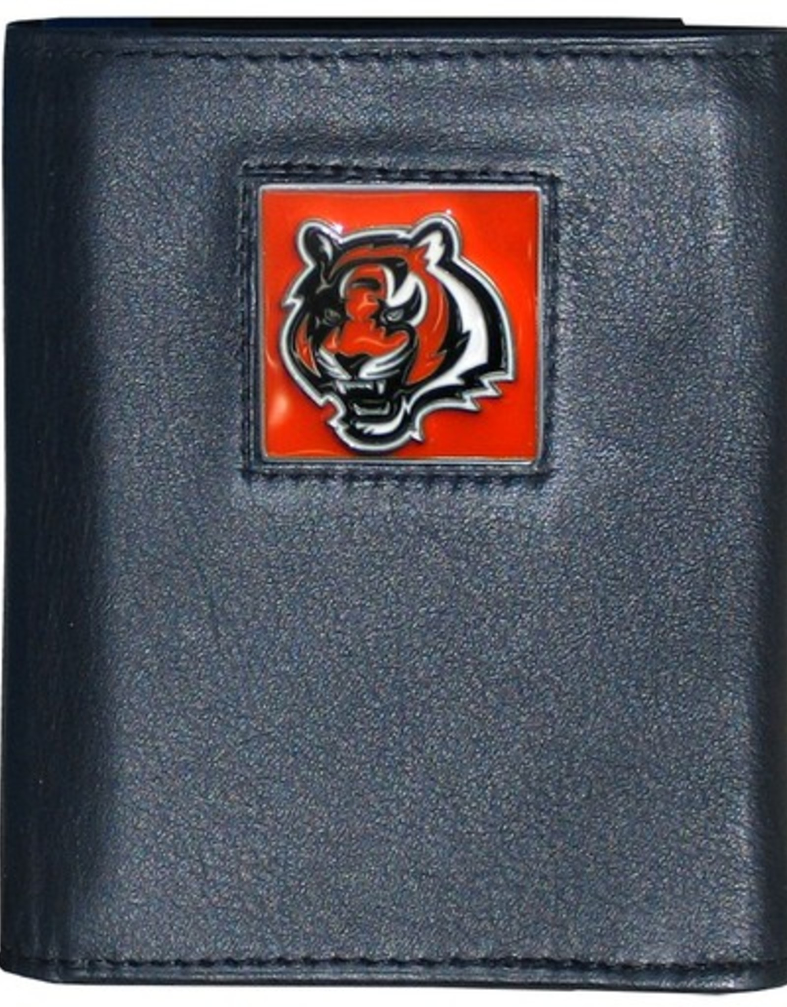 SISKIYOU GIFTS Cincinnati Bengals Executive Black Leather Trifold Wallet