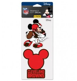 WINCRAFT Cleveland Browns Set of Two DISNEY 4x4 Perfect Cut Decals