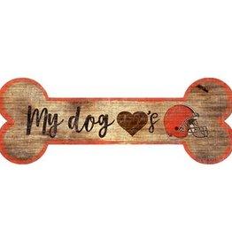 FAN CREATIONS Cleveland Browns Dog Bone Wood Sign