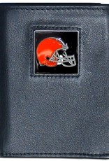 SISKIYOU GIFTS Cleveland Browns Executive Black Leather Trifold Wallet